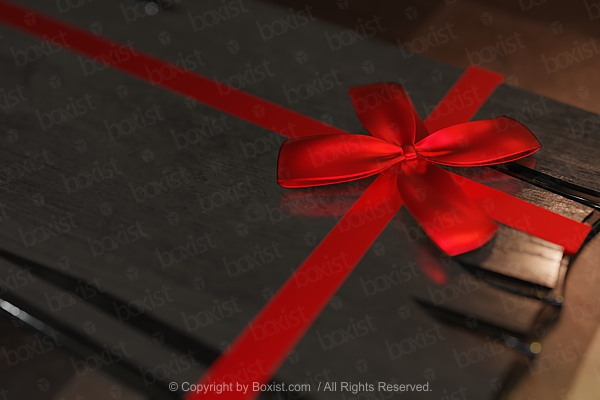 Wooden Board With Red Ribbon Bow