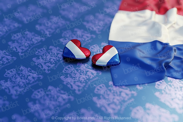 Netherlands Flag Love Hearts On Coat of Arms Background