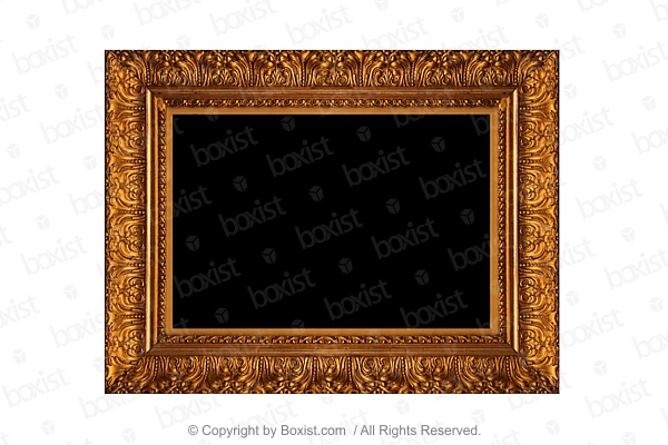 Empty Antique Carved And Gilded Wooden Frame