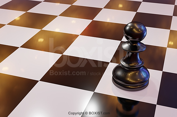 Black Chess Pawn On Board