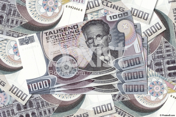 One Thousand Austrian Schilling Money Bills Year 1983