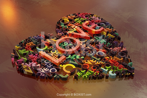 Colored 3D Love Words In Heart Shape