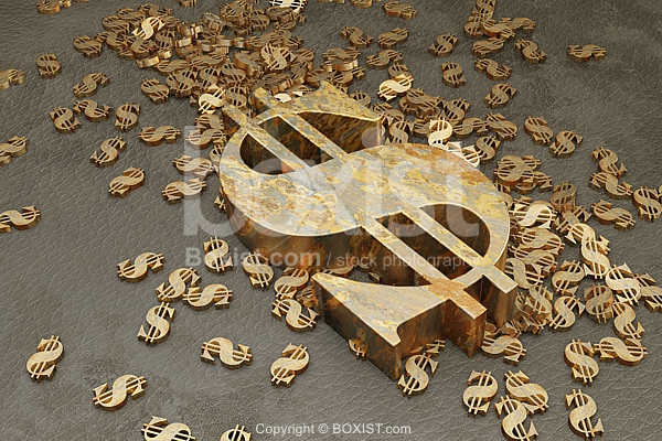 Scattered 3D Dollars Signs