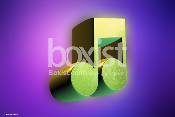3D Green Music Note on Purple Background