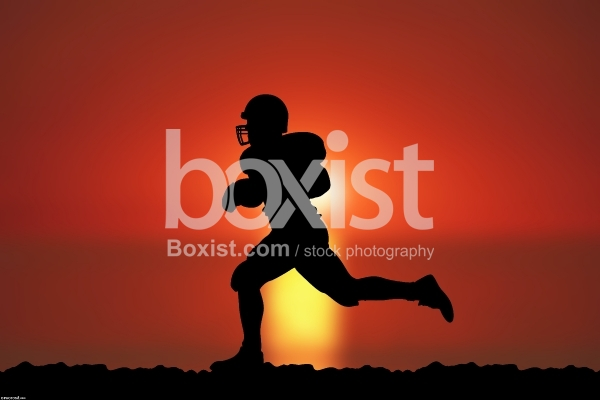 American Football Player Running at Sunset