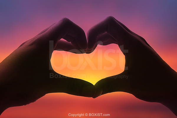 Two Hands Silhouette Showing Heart