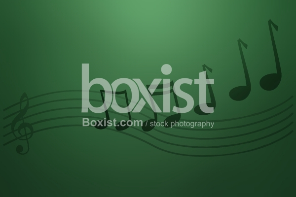 Music Notes on Green Background