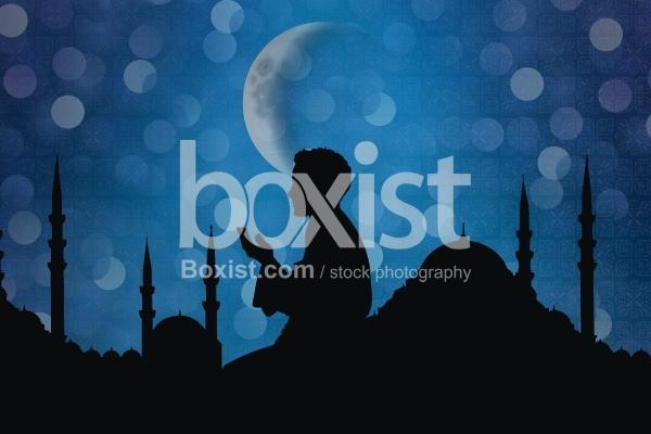 Muslim Prayer with Mosque Silhouette