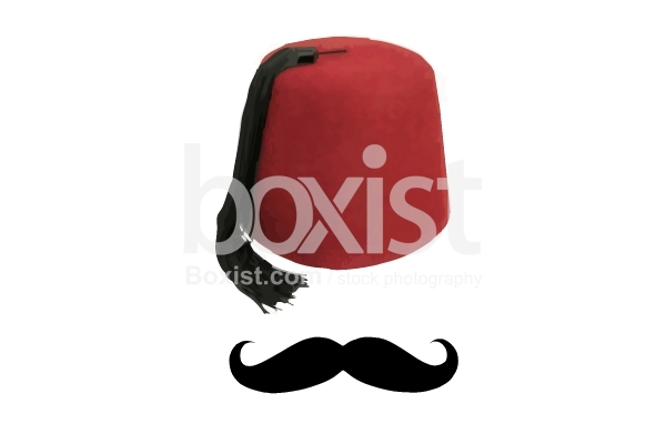 Mustache and Red Tarboosh Hat