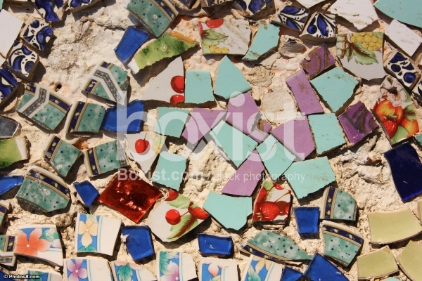 Wall of Broken Ceramic Pieces