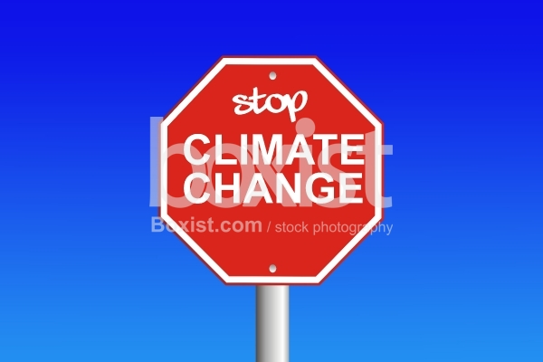 Stop Climate Change Against Sky Background