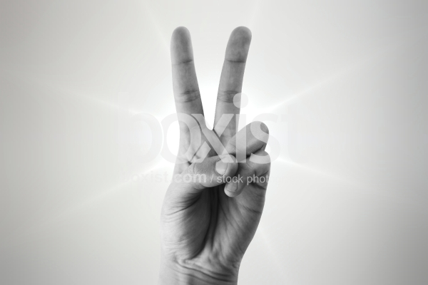 Victory Hand in Black and White