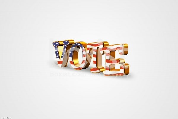 Vote in 3D with American Flag