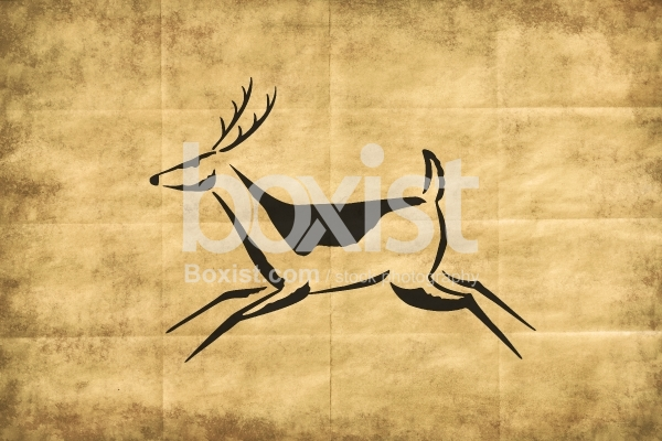 African Tribes Drawing of Running Deer