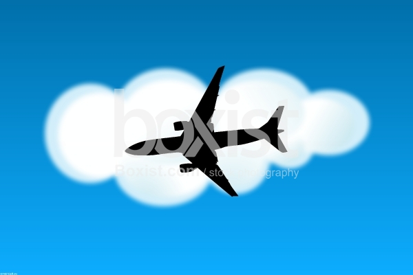 Airplane Silhouette in the Sky