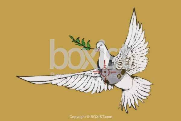 Dove with Olive Branch and Bullet Vest Graffiti